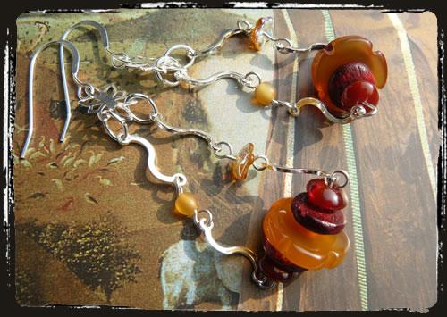 Orecchini arancio - Orange earrings AMHDALI
