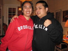 Me & Joe in the great Brooklyn sweaters we got from Joe's mom and sister!