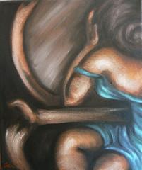 Vanity 12x10 Oils on Canvas nude art by Jennie Rosenbaum