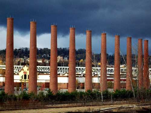 storm clouds over homestead smokestacks