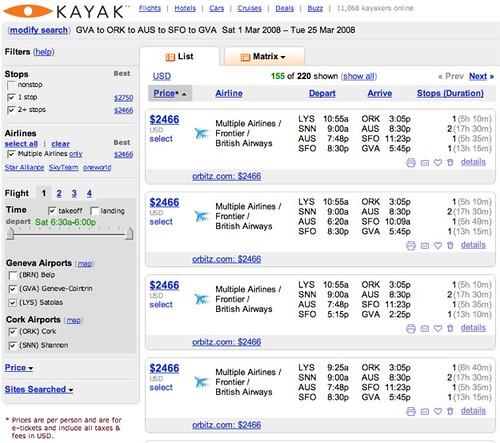 Kayak.com: GVA-ORK-AUS-SFO-GVA