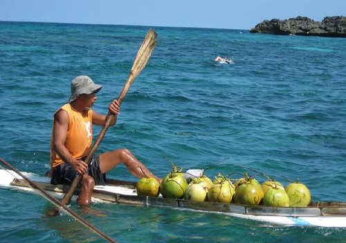 coconut vendor makeshift boat sea Buhay Pinoy Philippines Filipino Pilipino  people pictures photos life Philippinen