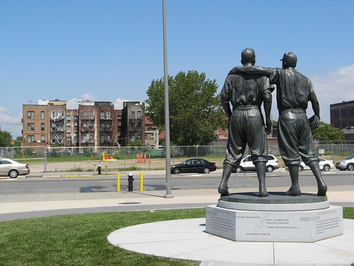 This statue commemorates the time that Robinson was being verbally abused by the fans and Pee Wee Reese put his arm around Robinson showing that Reese was going to stand by him.