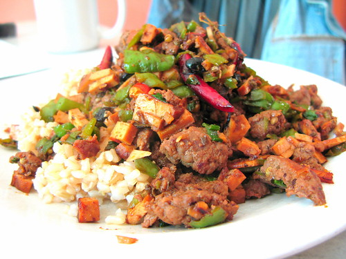 Spicy Capsicum Pepper Saute with Pressed Tofu by you.