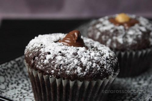 Drunken Devil's Food Espresso Cupcakes with Nutella Filling