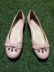 Pink Leather Cut-Out Flats