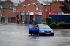 Heavy rain causes flash flooding in East Belfast...