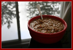 Lentil soup on a snowy winter day