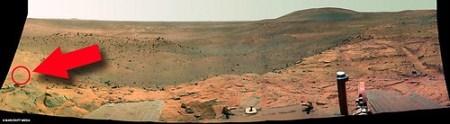 Panoramica tomada por la Spirit en donde aparecio el marciano
