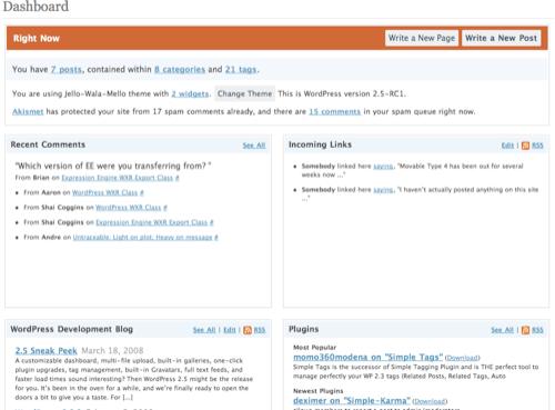 WordPress 2.5 Dashboard Overhaul