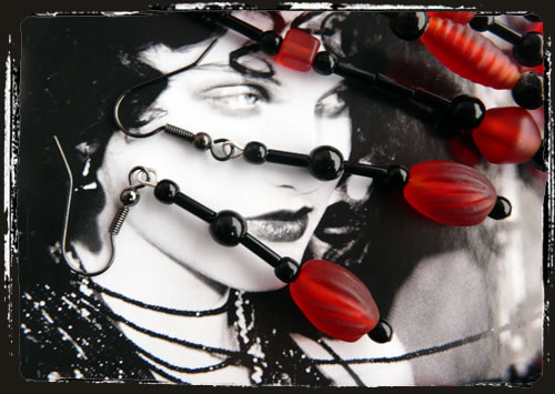 Orecchini rosso nero - Black red earrings IARONE