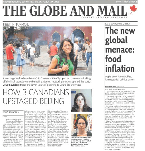 The Globe and Mail Front Page on SFTers