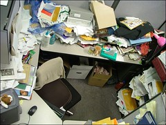 Aerial View of Messy Cubicle