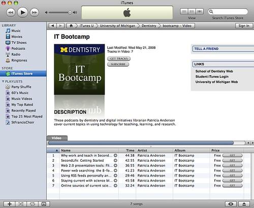 Open.Michigan iTunesU Bootcamp Collection