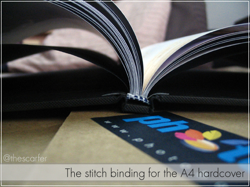 The stitch binding for the A4 hardcover