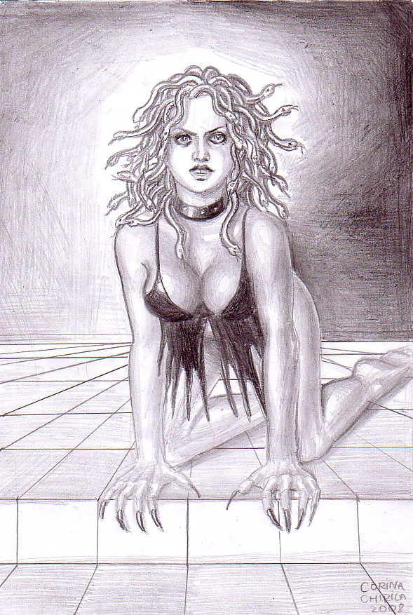 My pencil drawing of Medusa, one of the gorgon sisters