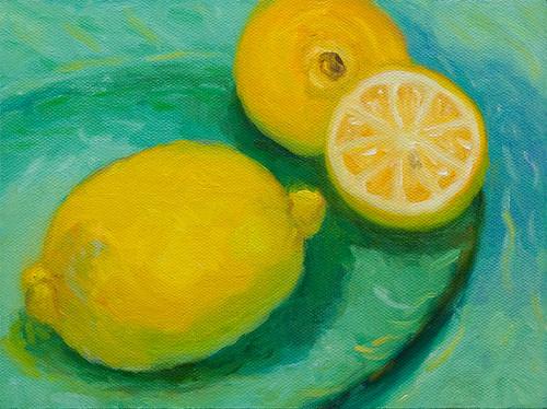 Lemons on Green Glass Platter