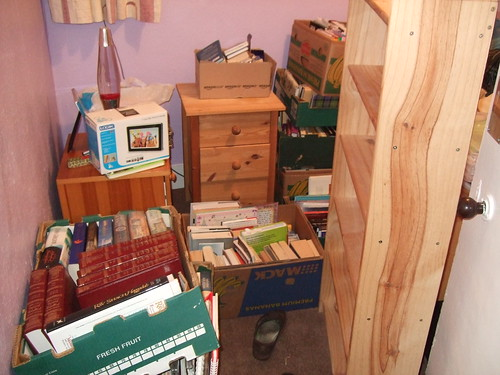 Room filled with boxes of books