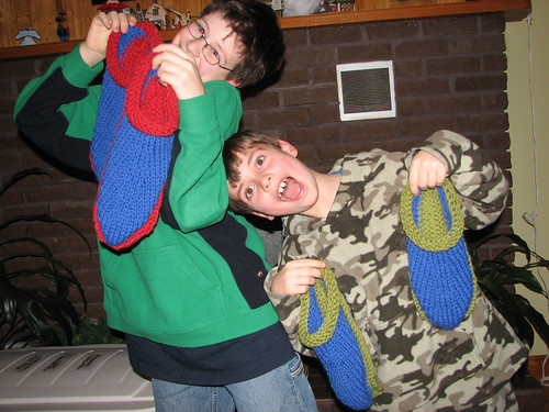 Boys with big slippers2 Dec 2007