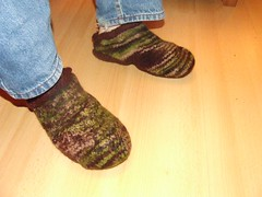 Dave sporting his felted slippers...
