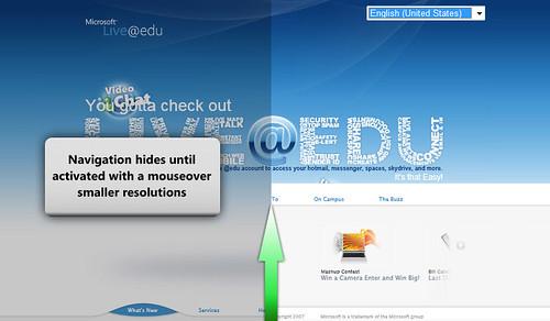 Live@edu sliding menu