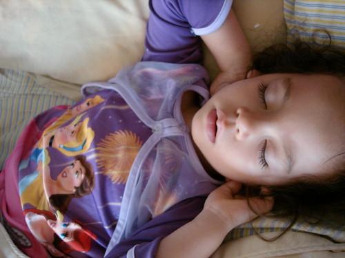Striking a pose in her sleep