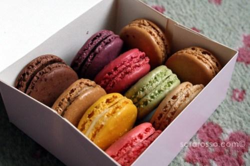 A box of colorful Laduree macarons
