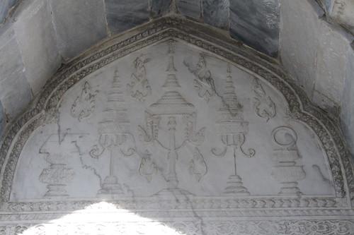 detail of crown in marble