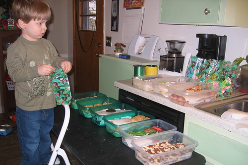 Putting the cookie bags together