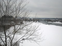 The Ottawa River, mostly frozen
