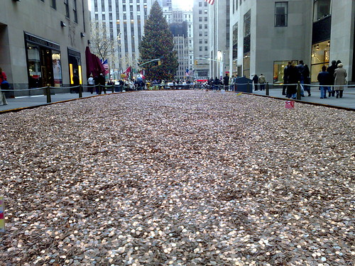 Sea of pennies at Rockefeller plaza