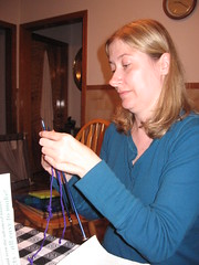 Rebecca learns to knit!