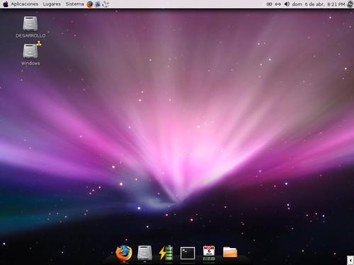 Mi escritorio de Ubuntu Gnome. A lo Leopard de Mac