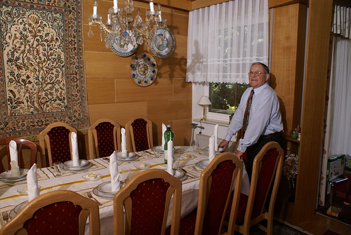 Opa with the set table