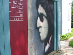 Blood On The Tracks, newly painted door of Bob Dylan's childhood home, Hibbing, Minnesota, May 2006, photo © 2007 by Liz. All rights reserved.