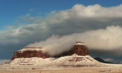 Butte Draped With Cloud