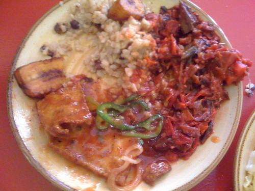 calabash rice and peas bbq tofu beets