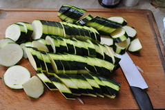Sliced courgettes