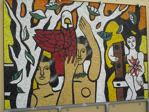 The Women with the Parrots - mosaic