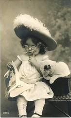 Vintage Postcard ~ Girl w/Glasses