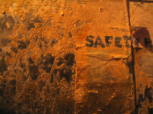 Safety Hides, Northwest Caskets Building sign, Minneapolis, Minnesota, November 2007, photo © 2008 by QuoinMonkey. All rights reserved.