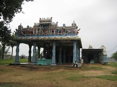 Muthukumara Swamy Shrine on the left and Shiva shrine on the right