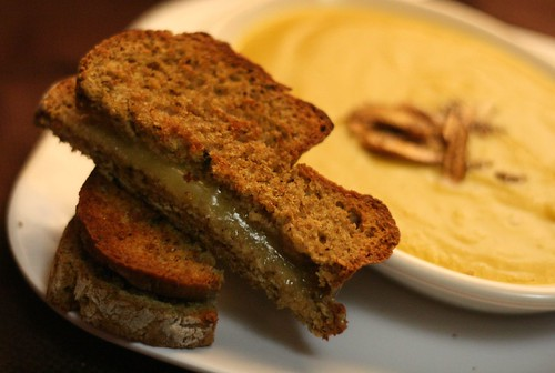 Sage Soda Bread as grilled cheese for soup