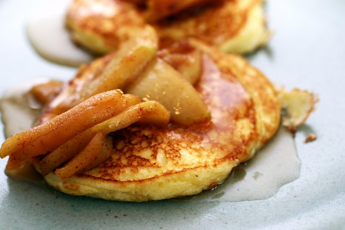 lemon ricotta pancakes with sauteed apples