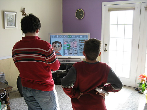 Kids playing Wii