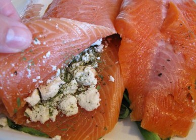 Salmon stuffed with Goat cheese...