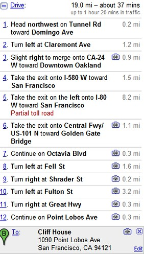 StreetView Directions