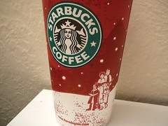Starbucks red cup Family venti