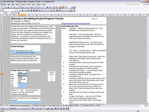 Settup for the Writing Project Progress Tracker