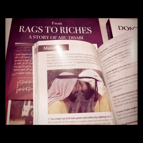 Gulf men greet each other by rubbing noses; a snapshot from Ask Ali, A Guide to Abu Dhabi
